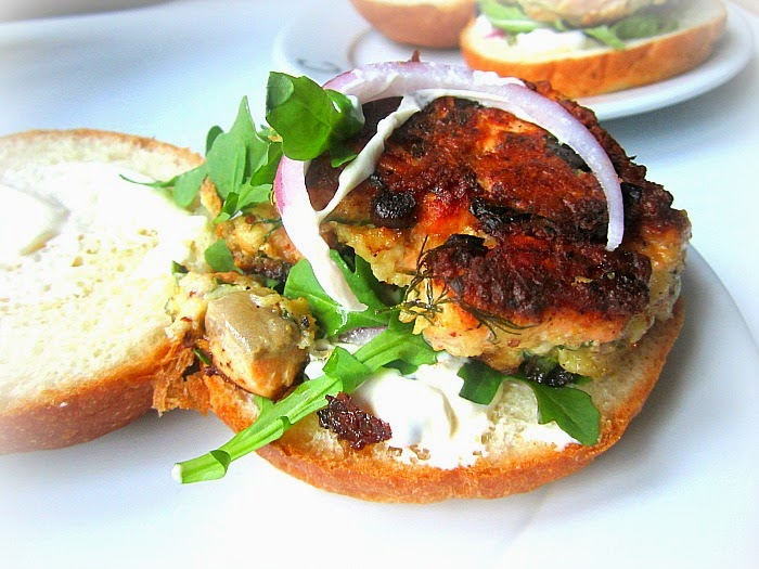 ... salmon burger before thoughts of canned salmon baked into patty shapes