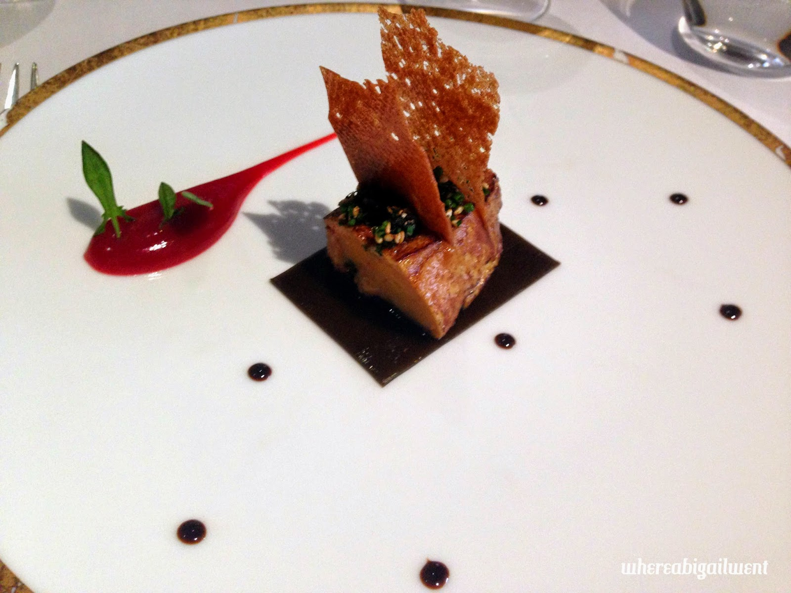 Roast Foie Gras with Kombu, Furikake, Barbary Puree and Balsamic