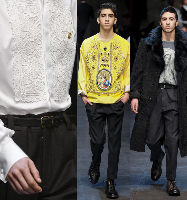 Details of white dress shirt, dolce tees, and outerwear coats at Dolce & Gabbana Fall 2013