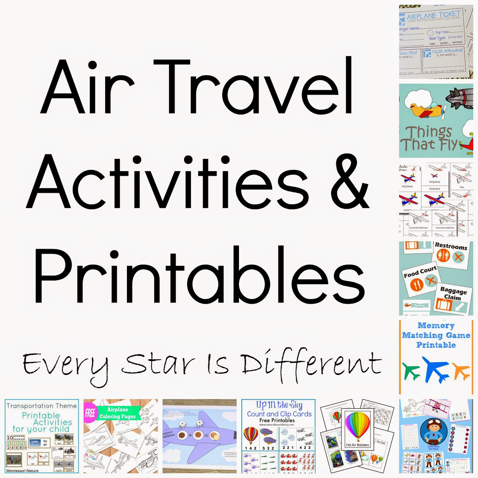 Air Travel Activities Printables Klp Linky Every Star Is Different