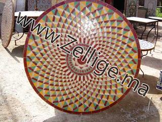 tables marocaine en mosaique zellige traditionnel table marocain. Black Bedroom Furniture Sets. Home Design Ideas