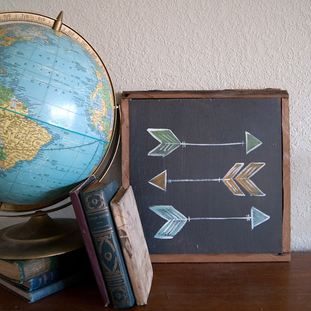 Averie Lane Boutique - Arrow Sign - Black with Colored arrows - reclaimed wood, globe, vintage books