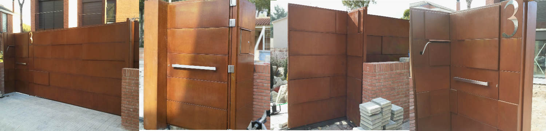 puerta de entrada y carruajes en acero corten con bandejas de diferentes tamaos y grosores instalada en barcelona