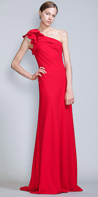 One-Shoulder Sheath Evening Gowns by Carmen Marc Valvo