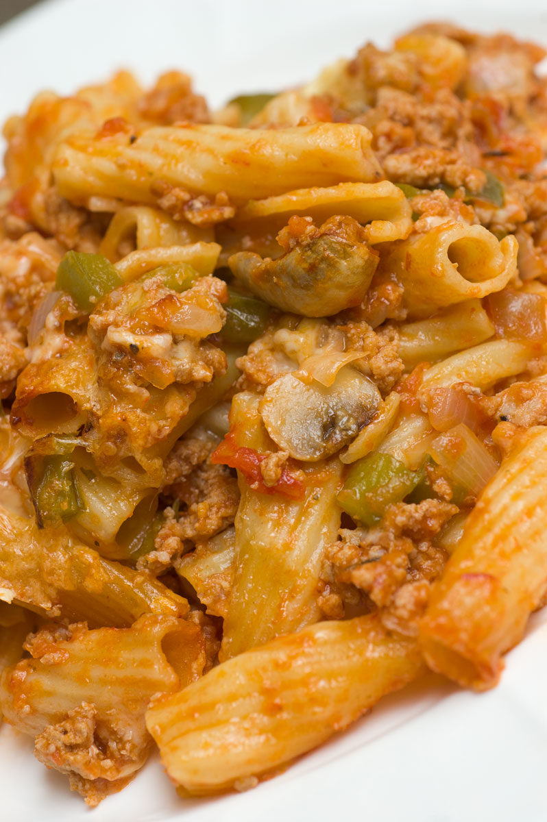 Baked Ziti with Turkey, Mushrooms & Bell Pepper