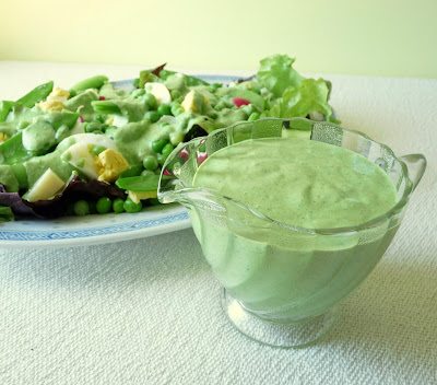 Peas, Cheese & Egg Salad with Creamy Garlic Scape & Parsley Dressing