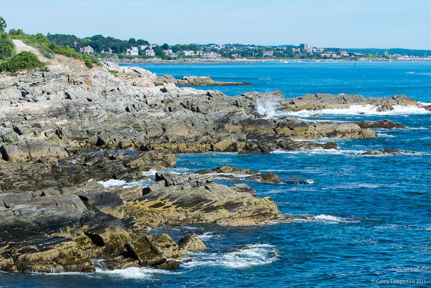 Cape Elizabeth, Maine USA rocky coastline of Casco Bay along Fort Williams looking towards Portland. August 2015. Photo by Corey Templeton.