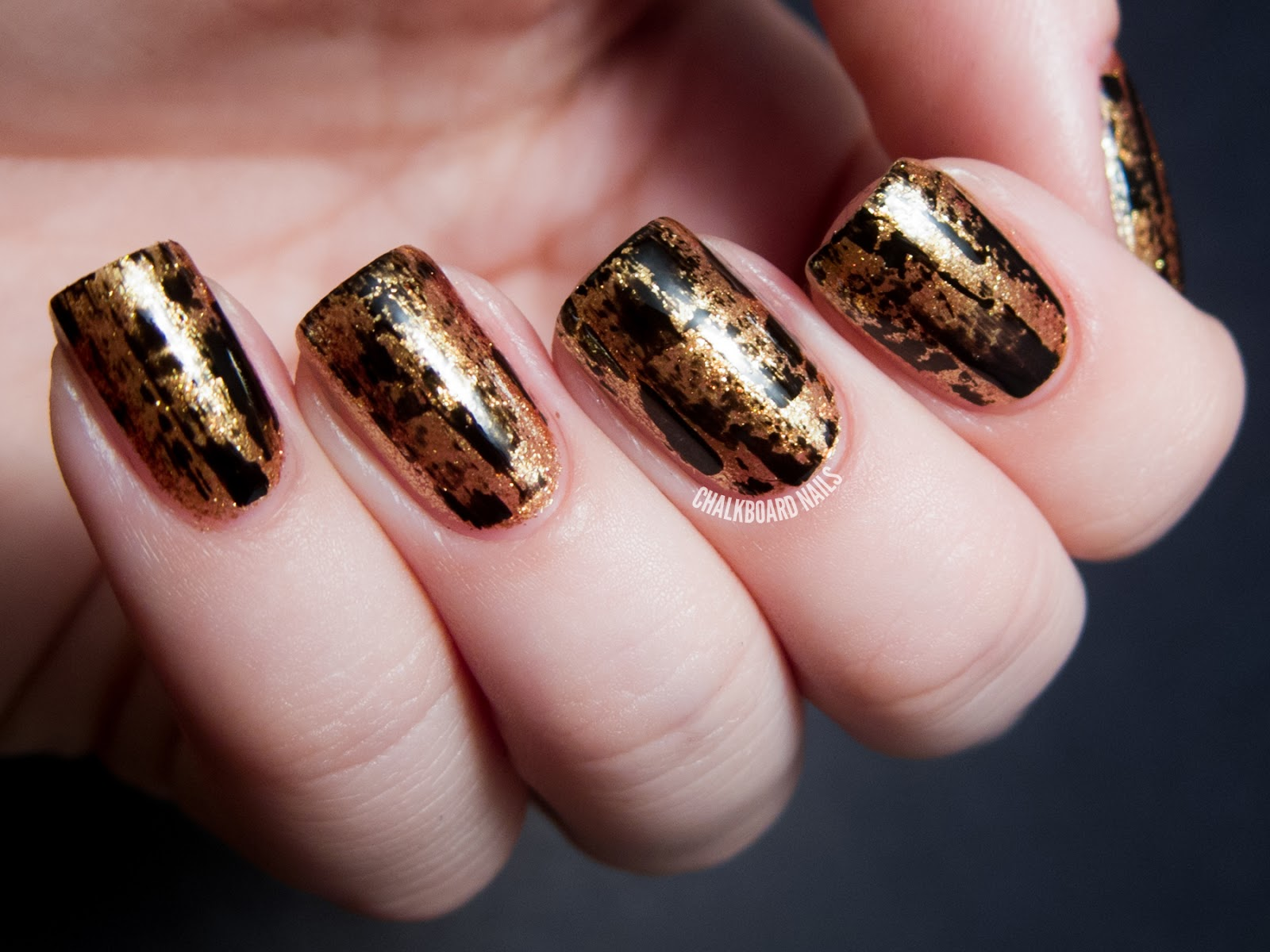 Party Perfect Black And Gold Nail Art Ideas Chalkboard Nails