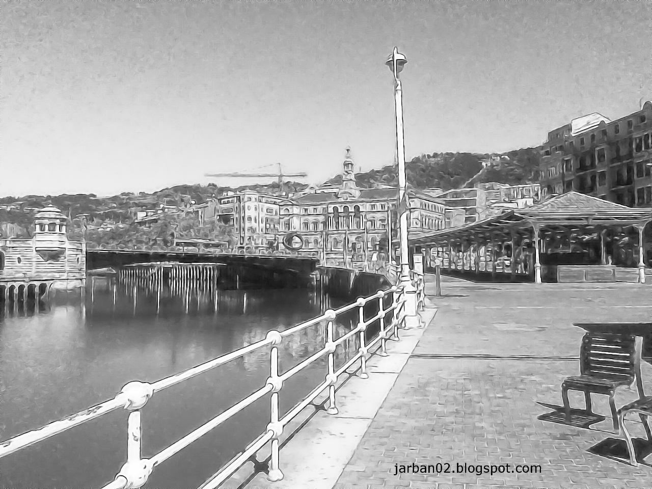 jarban02_pic052: Vista del Ayuntamiento de Bilbao desde el Paseo del Arenal