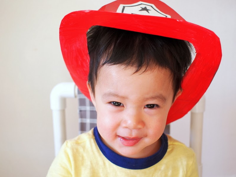 Make a cereal box fireman's hat
