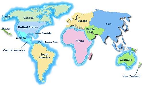 Carte du Monde Departement Tourisme Région Pays