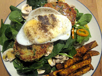 Quinoa Burgers with Baked Sweet Potato Fries