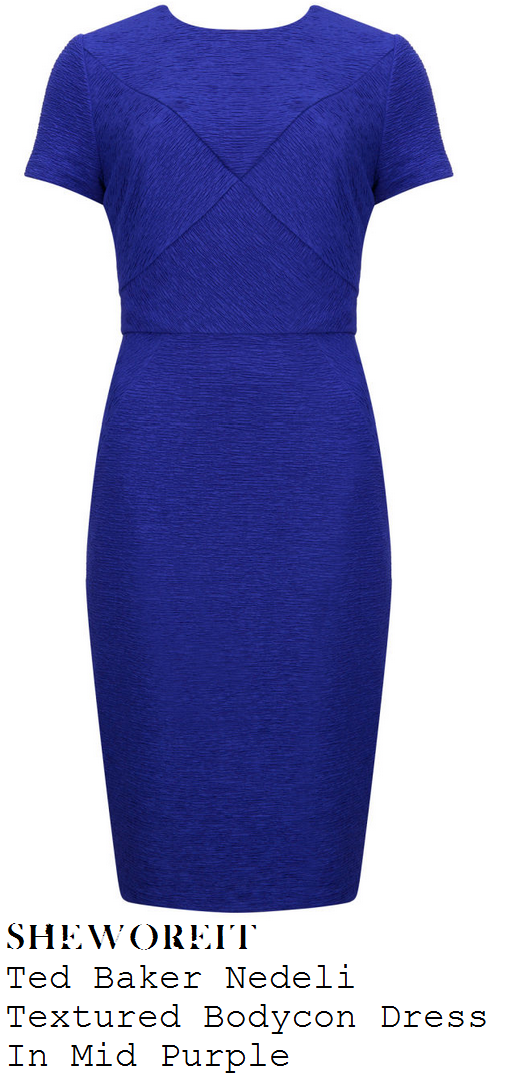 susanna-reid-bright-cobalt-blue-purple-textured-short-sleeve-bodycon-dress-with-criss-cross-stitch-detail-good-morning-britain
