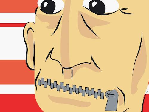Ilustração de Lucas Pacífico representando um homem de olhos bem abertos e com a boca fechada a zíper