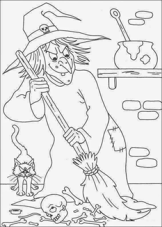 coloriage la méchante sorcière et son balai, dessin halloween 2014