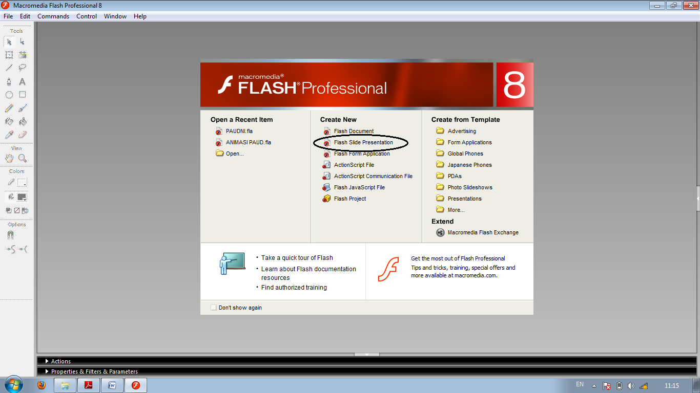 Buka Aplikasi Macromedia Flash 8 Kemudian Pilih Flash Slide