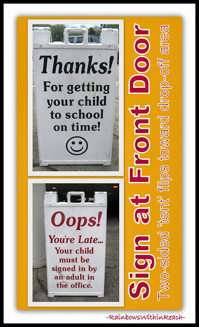 "Front Door ""Reversible"" Sign for School: On Time vs. Tardy via RainbowsWithinReach"