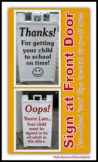 "Front Door ""Reversible"" Sign for School: On Time vs. Tardy via RainbowsWithinReach"