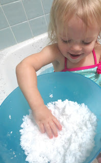 Homemade ONE ingredient snow for kids- feels so real!!