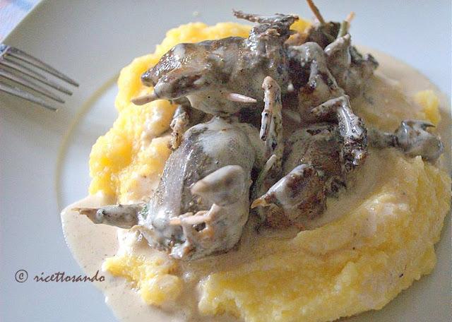 ricetta originale bergamasca di polenta e osei quagli con panna