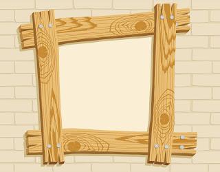 お洒落な木製フレーム wooden frame vector イラスト素材