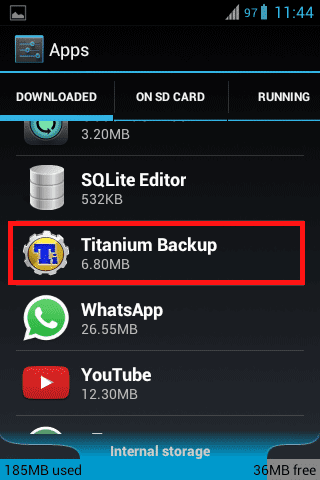 Titanium Backup app in downloaded apps