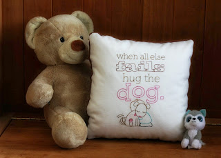 When All Else Fails Hug The Dog Pillow Cover | Brown Mink Back Side | 12 x 12 inch | Nursery Decor | Belinda Lee Designs