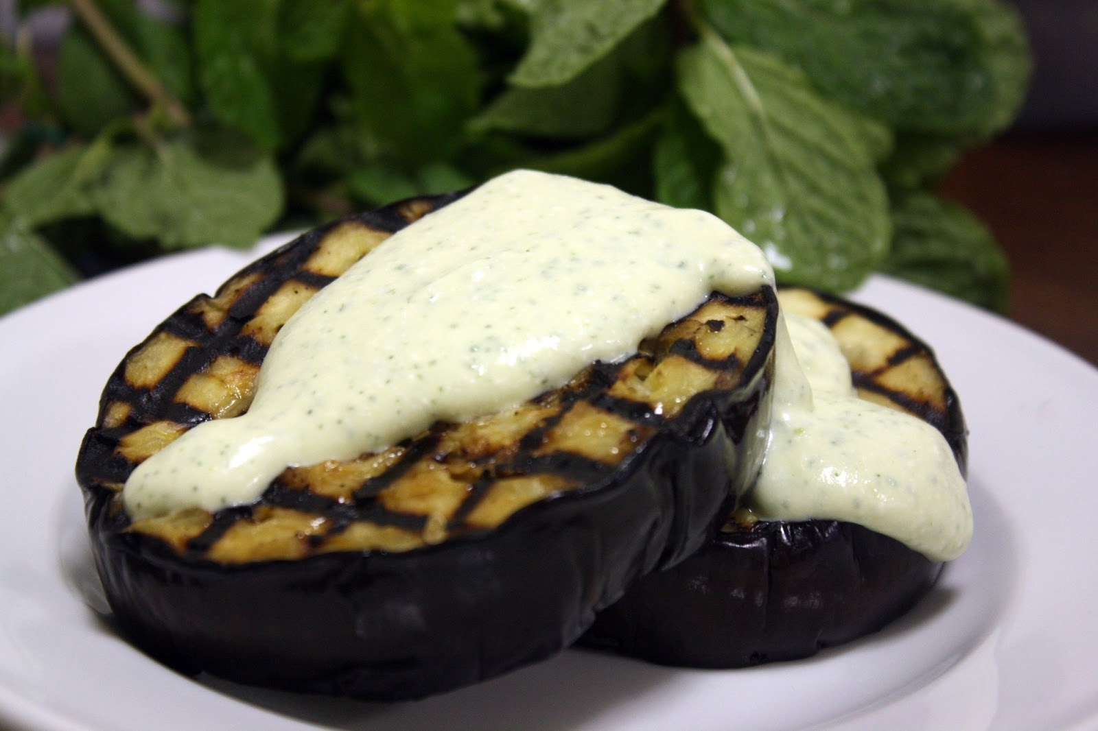 Make-Meals Mama: Eggplant with Creamy Feta & Mint Dressing