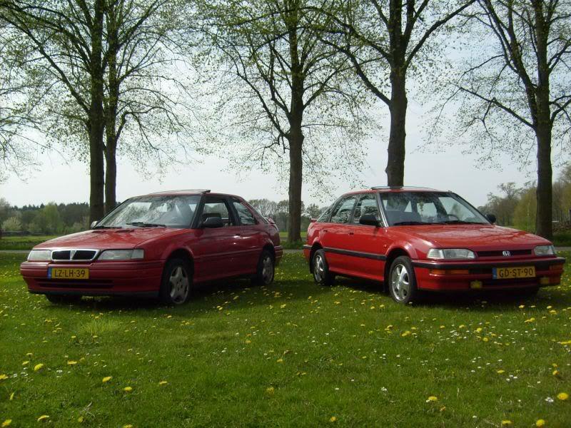 Honda Concerto, czerwona, przód, Rover 216 GTi