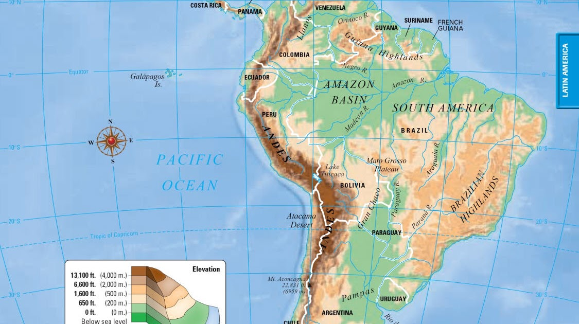 Online Maps Latin America Map: South America Map Elevation At Codeve.org