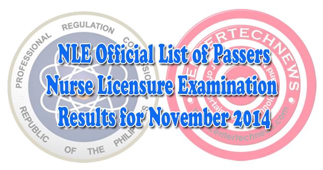 NLE: Nursing Licensure Examination Results November 2014 D ...