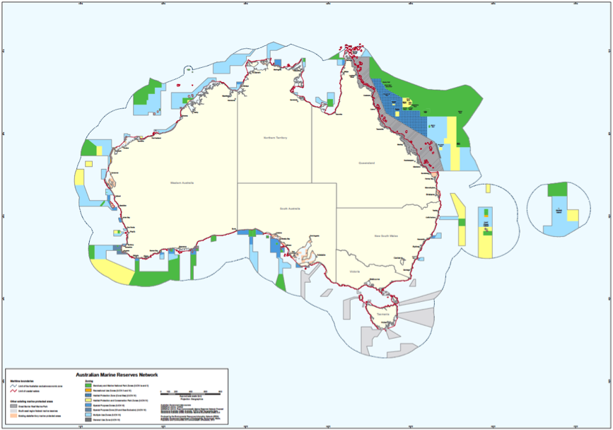 Mostly open ocean marine parks and the great barrier reef world a map of the newly declared marine reserve network in australia green denotes the areas which are fully protected as marine national parks gumiabroncs Gallery