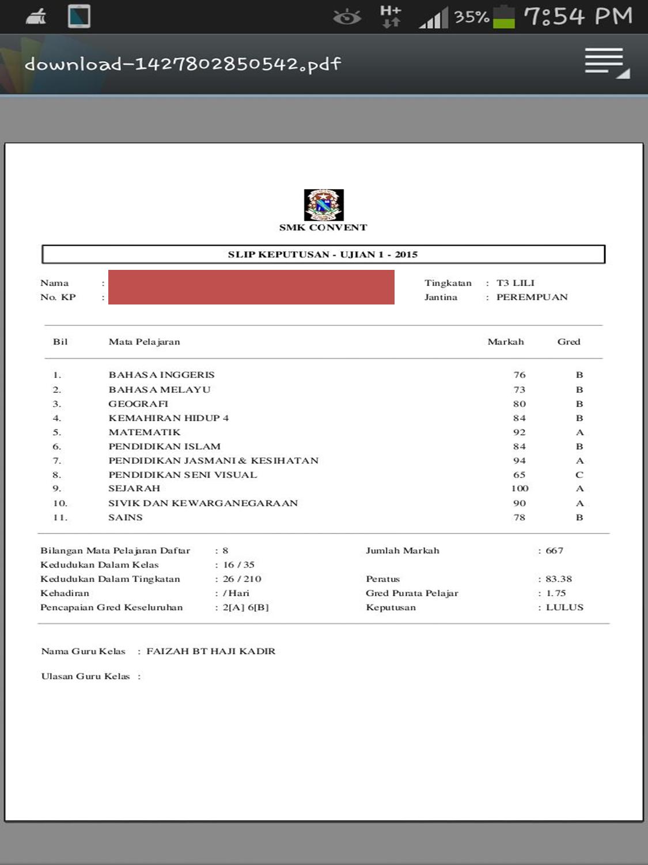 Result Ujian 1 Kak Long 2015