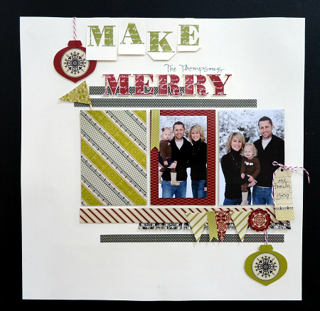 Make Merry - Holiday themed scrapbook page