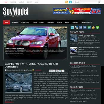 SuvModel blogger template. free blogspot template magazine style. template blogger automotive