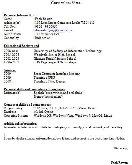 Contoh CV Curriculum Vitae Lengkap  Berryhs.com Blog