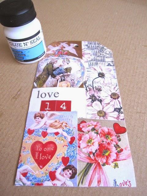 primer paso tag febrero: tag con collage de imágenes vintage románticas y bote de glue 'n seal