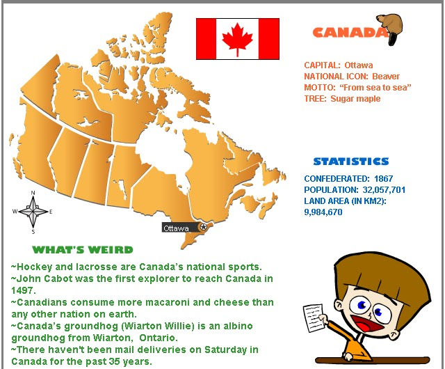 Canada Facts for Kids. Learn some interesting information about Canada while enjoying a range of fun facts and trivia that's perfect for kids! Read about the climate in Canada, the languages spoken, its major cities, natural resources, coastline, border and much more.
