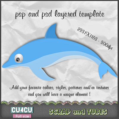 Dolphin Template (CU4CU) Dolphin+Template_Preview_Scrap+and+Tubes