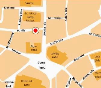 Mapa del restaurante para comer en Riga