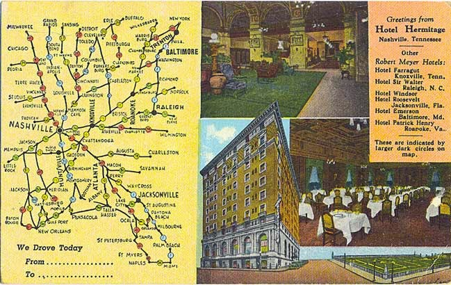 POSTCARDY the postcard explorer Map Hotel Hermitage Nashville