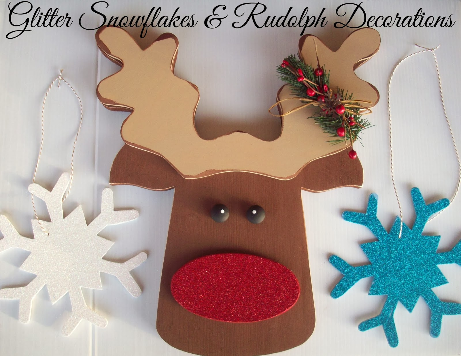 glitter snowflakes and rudolph christmas decorations glitteratmichaels - Rudolph Christmas Decorations