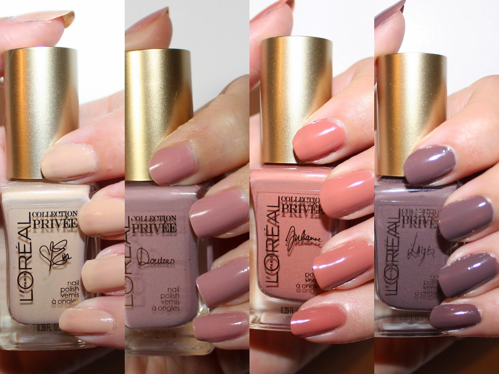 L'Oréal Collection Privée Exclusive Nudes Nail Polishes Swatches