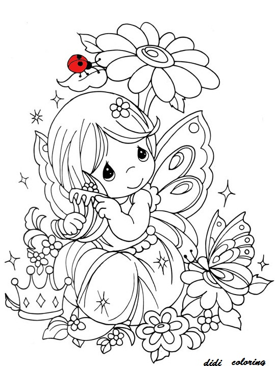 Printable fairy sitting and thinking near flowers butterfly dania rehman kids coloring pages