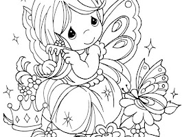 Girl Sitting Coloring Page