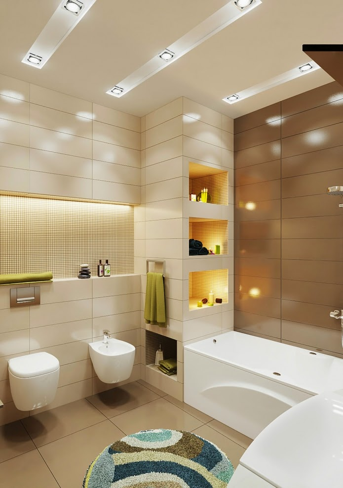 Elegant small bathroom design in beige and brown color scheme for Bathroom decor color schemes