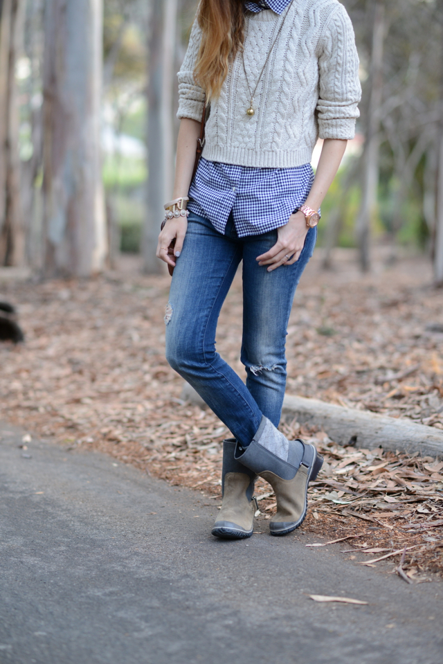 fall jeans and a sweater outfit with Sorel boots via M Loves M