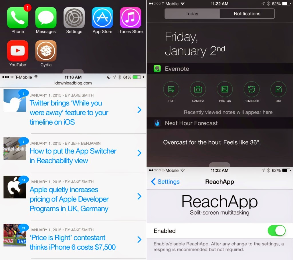 How To Get ReachApp iOS 8 Split Screen Multitasking On Your iDevice Right Now