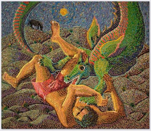 Federico Uribe pinturas feitas com lápis São Jorge e o dragão