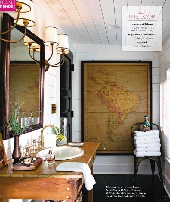 large vintage framed map as bathroom wall art